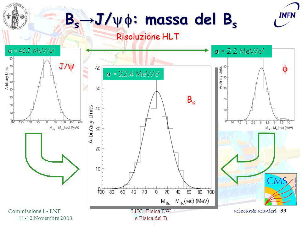 Commissione 1 - LNF 11-12 Novembre 2003 LHC: Fisica EW e Fisica del B Riccardo Ranieri 39 B s → J/   : massa del B s Risoluzione HLT  = 22.4 MeV/c 2 BsBsBsBs  = 46.5 MeV/c 2 J/   = 2.2 MeV/c 2 