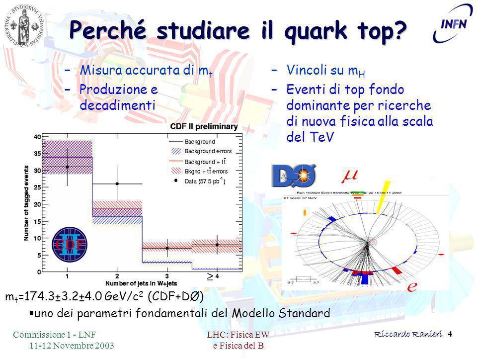 Commissione 1 - LNF 11-12 Novembre 2003 LHC: Fisica EW e Fisica del B Riccardo Ranieri 4 Perché studiare il quark top.