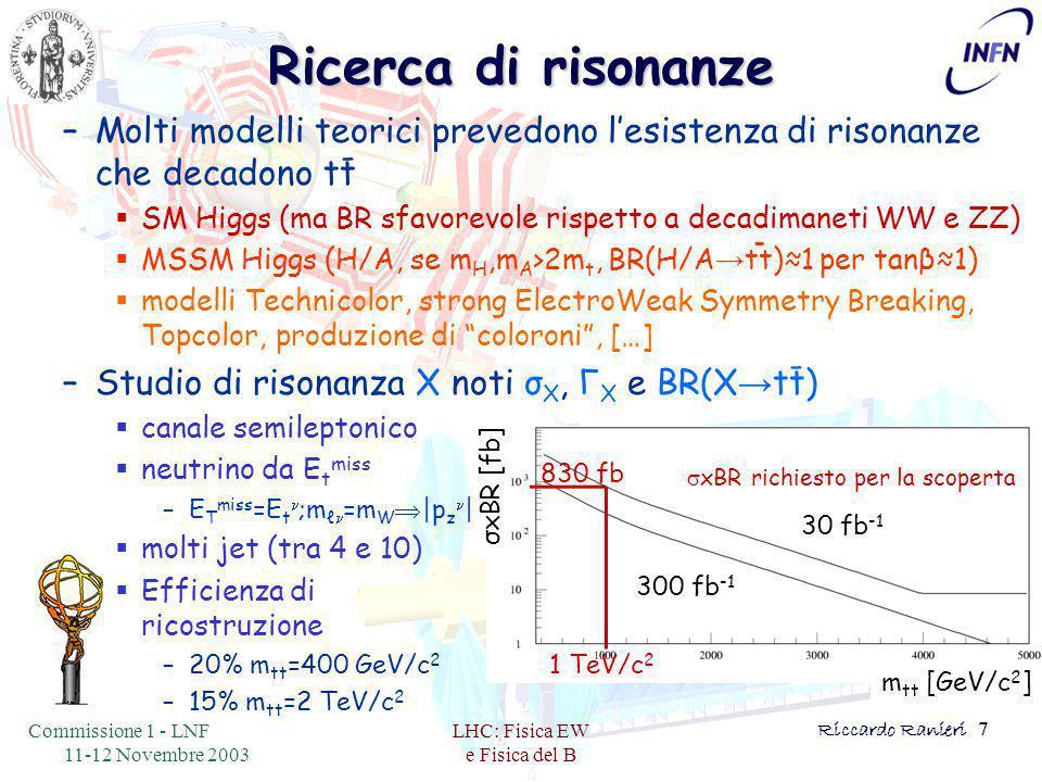 Commissione 1 - LNF 11-12 Novembre 2003 LHC: Fisica EW e Fisica del B Riccardo Ranieri 7 Ricerca di risonanze - - -  xBR richiesto per la scoperta m tt [GeV/c 2 ] σxBR [fb] 30 fb -1 300 fb -1 1 TeV/c 2 830 fb –Molti modelli teorici prevedono l'esistenza di risonanze che decadono tt  SM Higgs (ma BR sfavorevole rispetto a decadimaneti WW e ZZ)  MSSM Higgs (H/A, se m H,m A >2m t, BR(H/A → tt)≈1 per tanβ≈1)  modelli Technicolor, strong ElectroWeak Symmetry Breaking, Topcolor, produzione di coloroni , […] –Studio di risonanza Χ noti σ Χ, Γ Χ e BR(Χ → tt)  canale semileptonico  neutrino da E t miss –E T miss =E t n ;m ℓ n =m W  |p z n |  molti jet (tra 4 e 10)  Efficienza di ricostruzione –20% m tt =400 GeV/c 2 –15% m tt =2 TeV/c 2