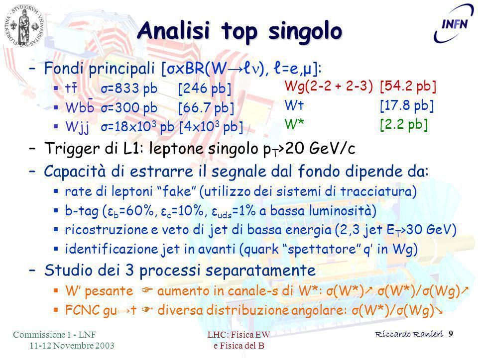 Commissione 1 - LNF 11-12 Novembre 2003 LHC: Fisica EW e Fisica del B Riccardo Ranieri 9 Analisi top singolo –Fondi principali [σxBR(W → ℓ n ), ℓ=e,μ]:  ttσ=833 pb [246 pb]  Wbbσ=300 pb [66.7 pb]  Wjjσ=18x10 3 pb [4x10 3 pb] –Trigger di L1: leptone singolo p T >20 GeV/c –Capacità di estrarre il segnale dal fondo dipende da:  rate di leptoni fake (utilizzo dei sistemi di tracciatura)  b-tag (ε b =60%, ε c =10%, ε uds =1% a bassa luminosità)  ricostruzione e veto di jet di bassa energia (2,3 jet E T >30 GeV)  identificazione jet in avanti (quark spettatore q' in Wg) –Studio dei 3 processi separatamente  W' pesante  aumento in canale-s di W*: σ(W*)  σ(W*)/σ(Wg)   FCNC gu → t  diversa distribuzione angolare: σ(W*)/σ(Wg)  - - Wg(2-2 + 2-3)[54.2 pb] Wt [17.8 pb] W*[2.2 pb]