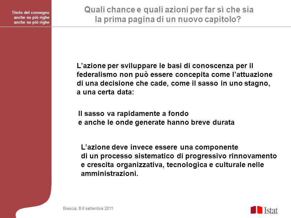 Titolo del convegno anche su più righe Brescia, 8-9 settembre 2011 Quali chance e quali azioni per far sì che sia la prima pagina di un nuovo capitolo.