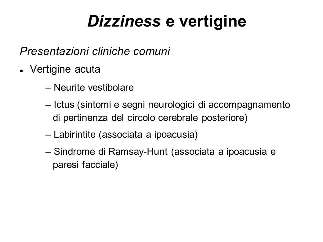 Dizziness e vertigine Presentazioni cliniche comuni Vertigine acuta – Neurite vestibolare – Ictus (sintomi e segni neurologici di accompagnamento di p