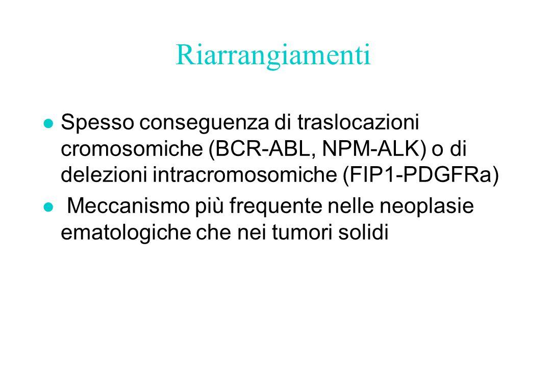 Riarrangiamenti l Spesso conseguenza di traslocazioni cromosomiche (BCR-ABL, NPM-ALK) o di delezioni intracromosomiche (FIP1-PDGFRa) l Meccanismo più