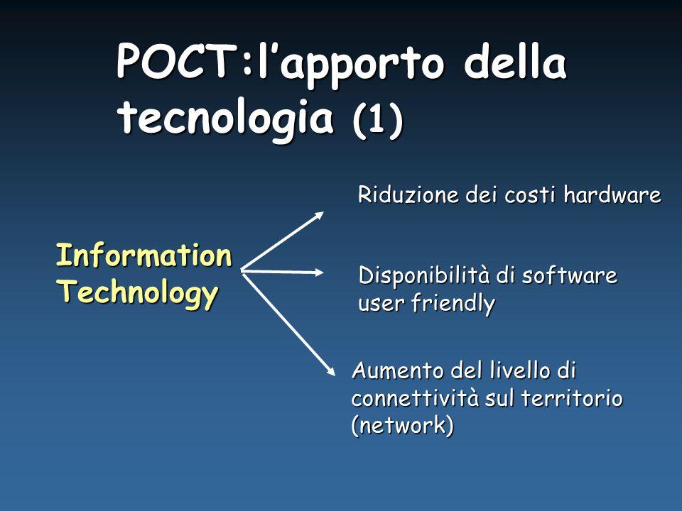 POCT:l'apporto della tecnologia (1) InformationTechnology Aumento del livello di connettività sul territorio (network) Riduzione dei costi hardware Disponibilità di software user friendly