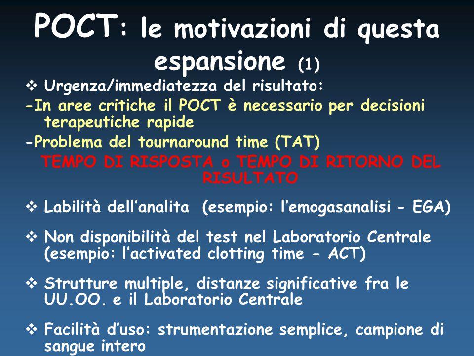 POCT : le motivazioni di questa espansione (1)  Urgenza/immediatezza del risultato: -In aree critiche il POCT è necessario per decisioni terapeutiche rapide -Problema del tournaround time (TAT) TEMPO DI RISPOSTA o TEMPO DI RITORNO DEL RISULTATO  Labilità dell'analita (esempio: l'emogasanalisi - EGA)  Non disponibilità del test nel Laboratorio Centrale (esempio: l'activated clotting time - ACT)  Strutture multiple, distanze significative fra le UU.OO.