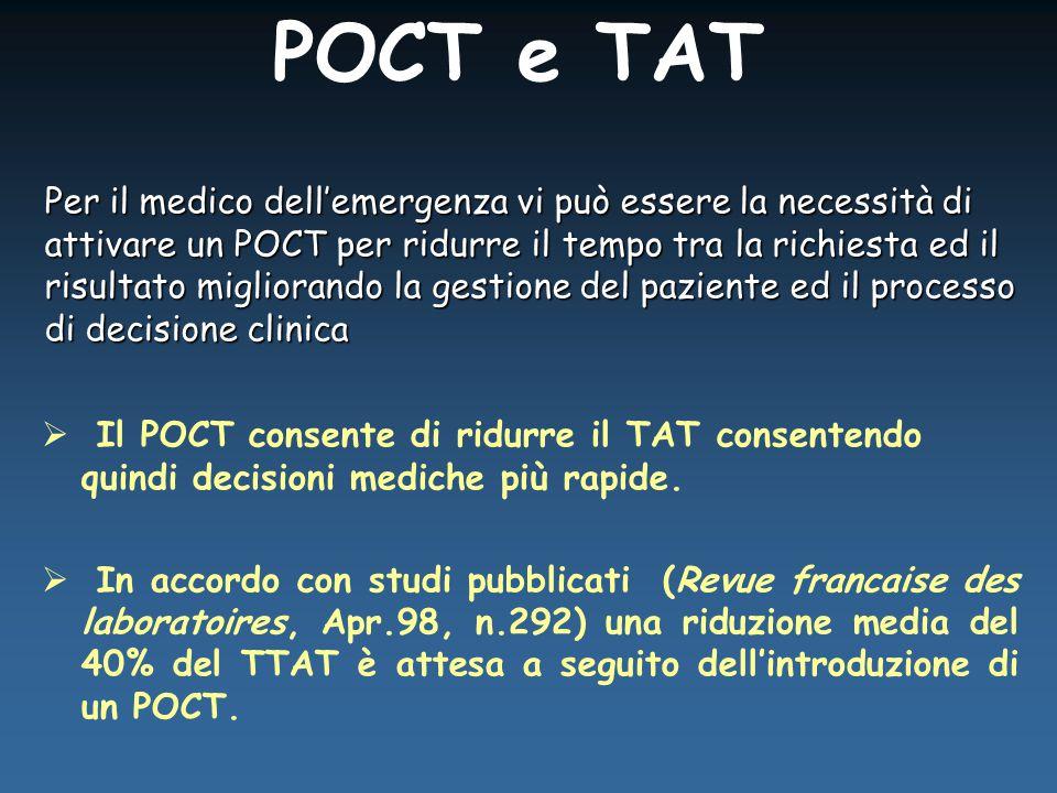  Il POCT consente di ridurre il TAT consentendo quindi decisioni mediche più rapide.