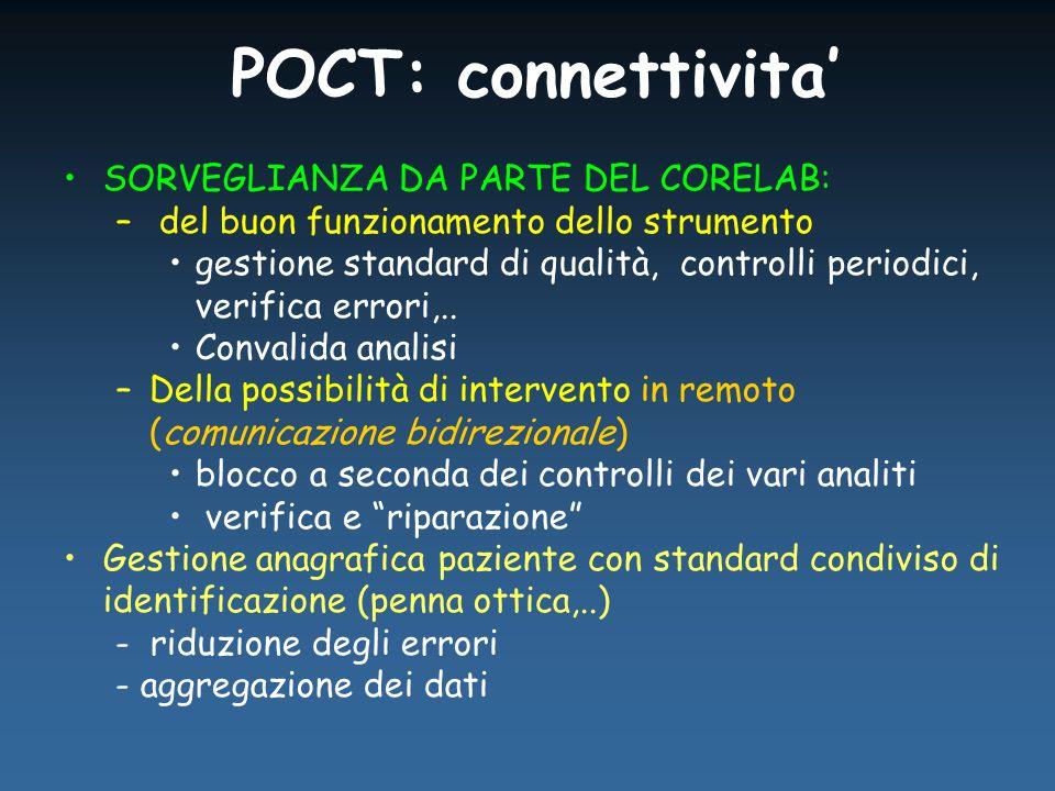 POCT: connettivita' SORVEGLIANZA DA PARTE DEL CORELAB: – del buon funzionamento dello strumento gestione standard di qualità, controlli periodici, verifica errori,..