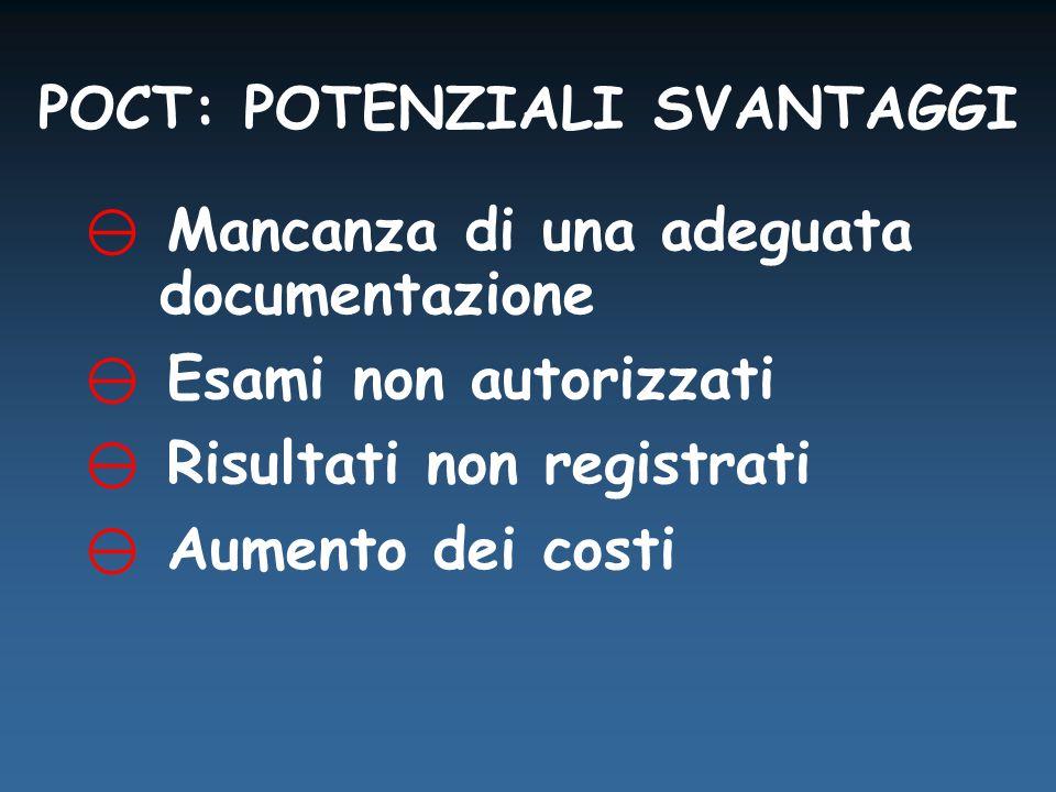 POCT: POTENZIALI SVANTAGGI  Mancanza di una adeguata documentazione  Esami non autorizzati  Risultati non registrati  Aumento dei costi