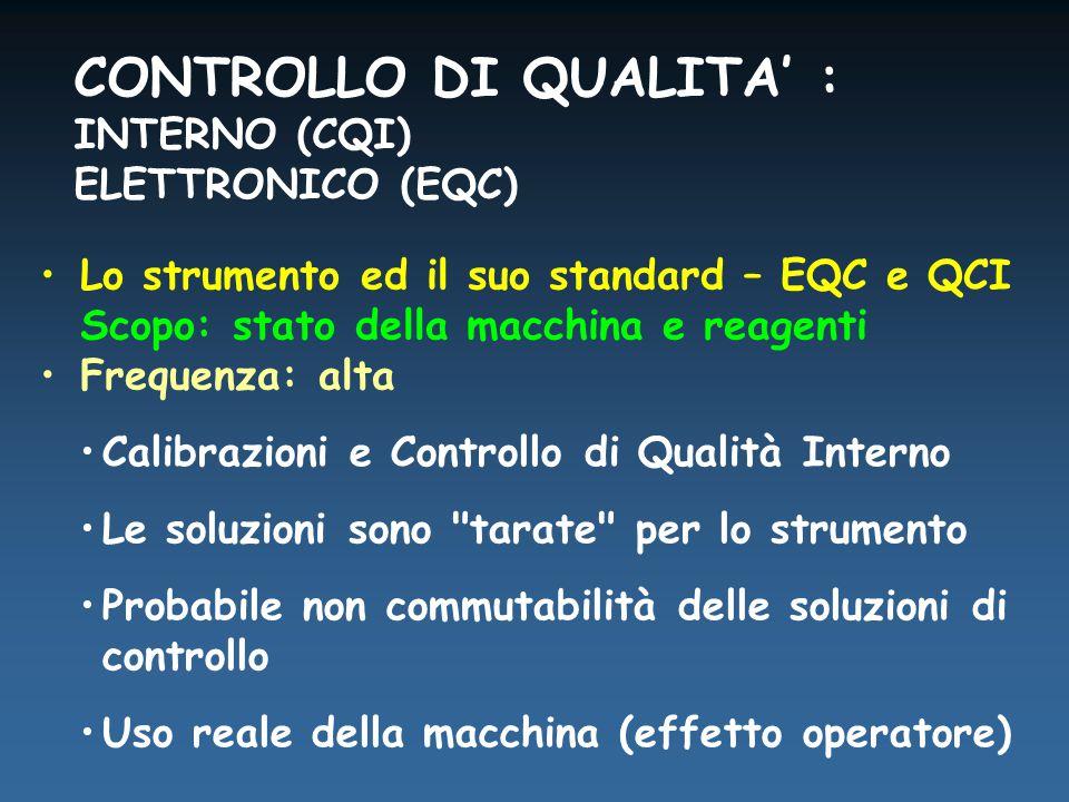 Lo strumento ed il suo standard – EQC e QCI Scopo: stato della macchina e reagenti Frequenza: alta Calibrazioni e Controllo di Qualità Interno Le soluzioni sono tarate per lo strumento Probabile non commutabilità delle soluzioni di controllo Uso reale della macchina (effetto operatore) CONTROLLO DI QUALITA' : INTERNO (CQI) ELETTRONICO (EQC)