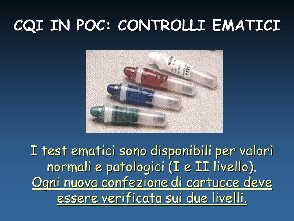 CQI IN POC: CONTROLLI EMATICI I test ematici sono disponibili per valori normali e patologici (I e II livello) I test ematici sono disponibili per valori normali e patologici (I e II livello).