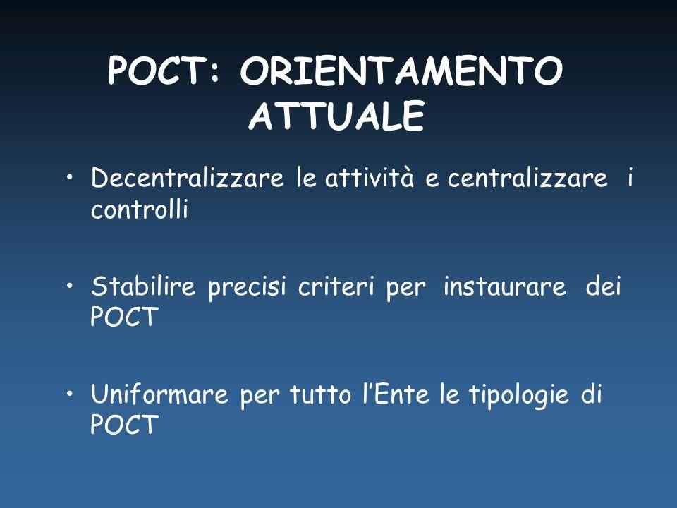 Decentralizzare le attività e centralizzare i controlli Stabilire precisi criteri per instaurare dei POCT Uniformare per tutto l'Ente le tipologie di POCT POCT: ORIENTAMENTO ATTUALE