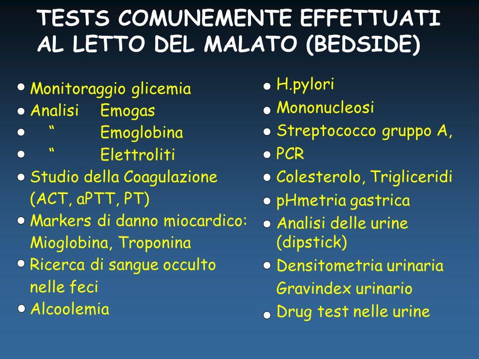 TESTS COMUNEMENTE EFFETTUATI AL LETTO DEL MALATO (BEDSIDE) H.pylori Mononucleosi Streptococco gruppo A, PCR Colesterolo, Trigliceridi pHmetria gastrica Analisi delle urine (dipstick) Densitometria urinaria Gravindex urinario Drug test nelle urine Monitoraggio glicemia Analisi Emogas Emoglobina Elettroliti Studio della Coagulazione (ACT, aPTT, PT) Markers di danno miocardico: Mioglobina, Troponina Ricerca di sangue occulto nelle feci Alcoolemia