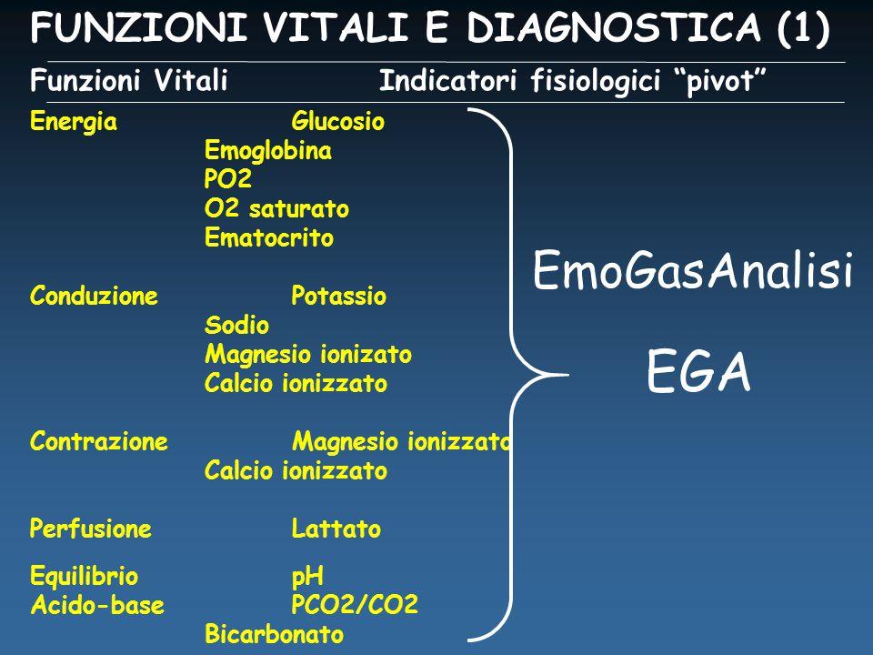 FUNZIONI VITALI E DIAGNOSTICA (1) Funzioni VitaliIndicatori fisiologici pivot EnergiaGlucosio Emoglobina PO2 O2 saturato Ematocrito ConduzionePotassio Sodio Magnesio ionizato Calcio ionizzato ContrazioneMagnesio ionizzato Calcio ionizzato PerfusioneLattato Equilibrio pH Acido-basePCO2/CO2 Bicarbonato EGA EmoGasAnalisi