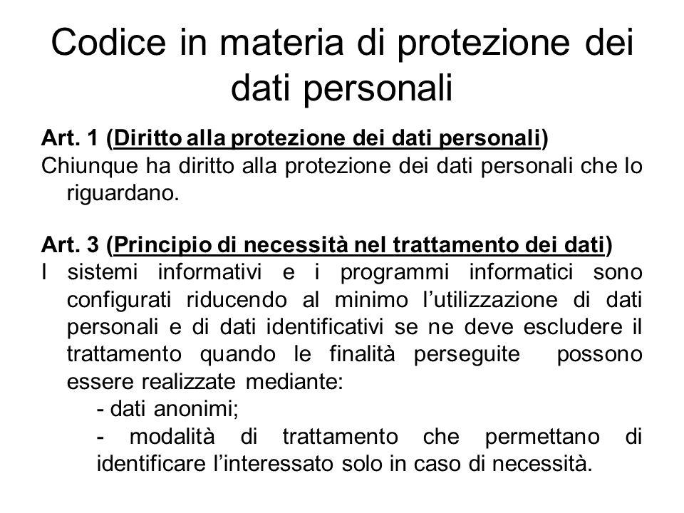 Codice in materia di protezione dei dati personali Art. 1 (Diritto alla protezione dei dati personali) Chiunque ha diritto alla protezione dei dati pe