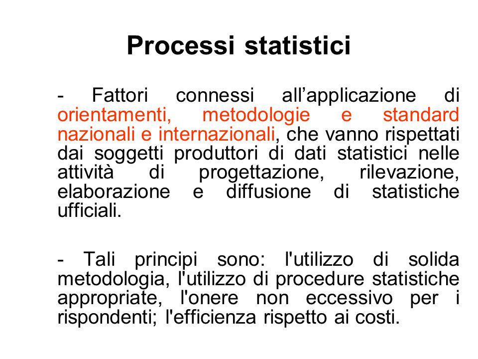 Processi statistici - Fattori connessi all'applicazione di orientamenti, metodologie e standard nazionali e internazionali, che vanno rispettati dai s