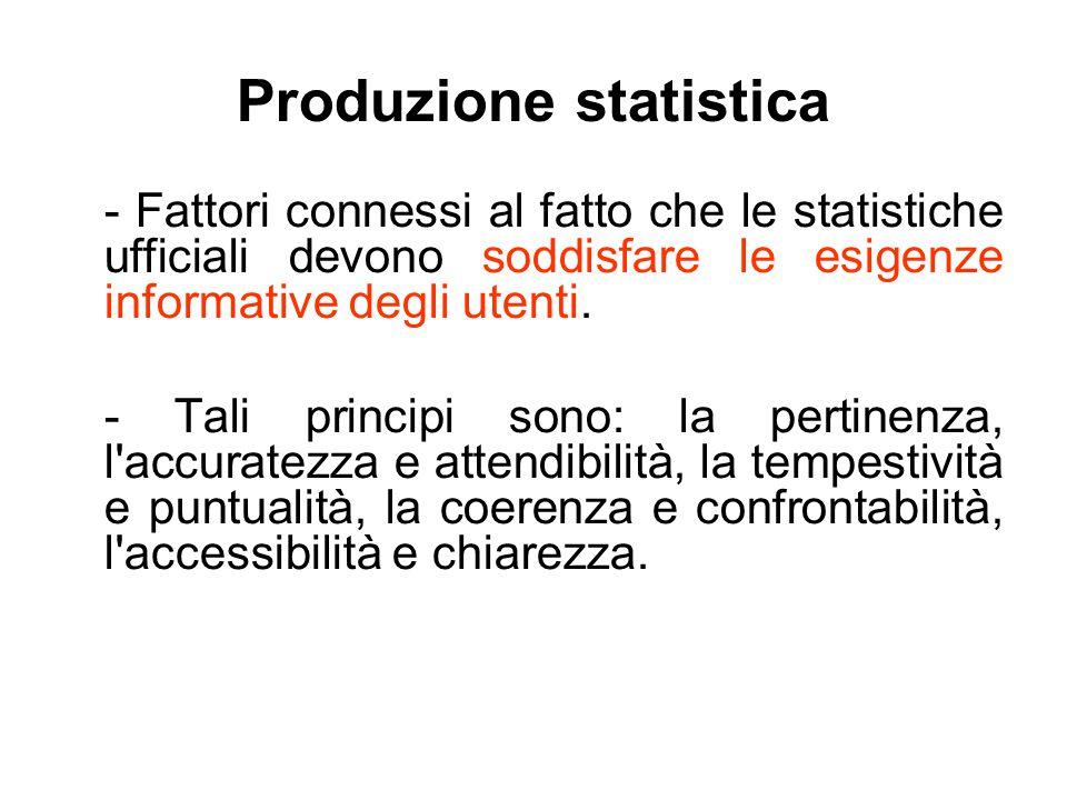 Produzione statistica - Fattori connessi al fatto che le statistiche ufficiali devono soddisfare le esigenze informative degli utenti. - Tali principi
