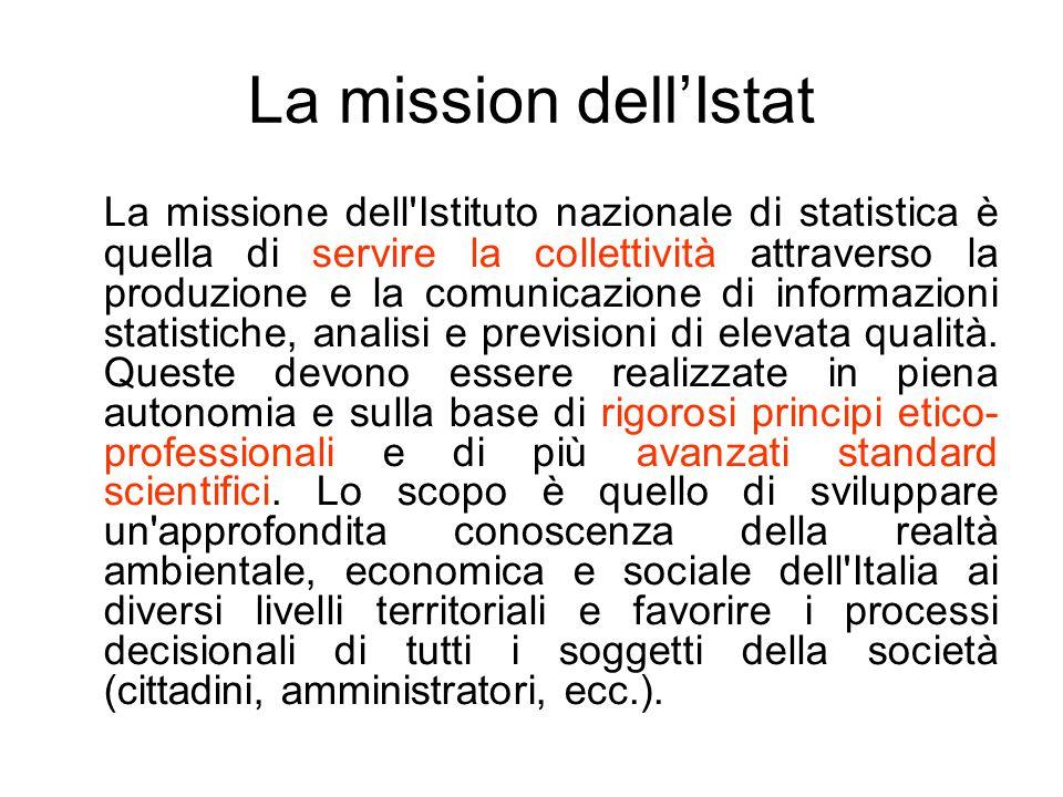 La mission dell'Istat La missione dell'Istituto nazionale di statistica è quella di servire la collettività attraverso la produzione e la comunicazion