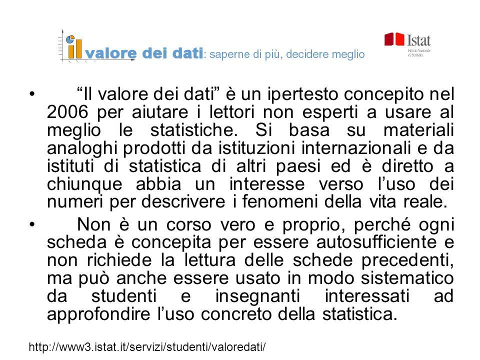 """""""Il valore dei dati"""" è un ipertesto concepito nel 2006 per aiutare i lettori non esperti a usare al meglio le statistiche. Si basa su materiali analog"""