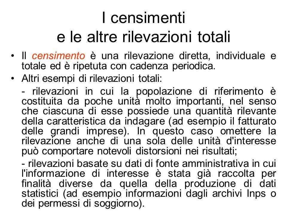 I censimenti e le altre rilevazioni totali Il censimento è una rilevazione diretta, individuale e totale ed è ripetuta con cadenza periodica. Altri es