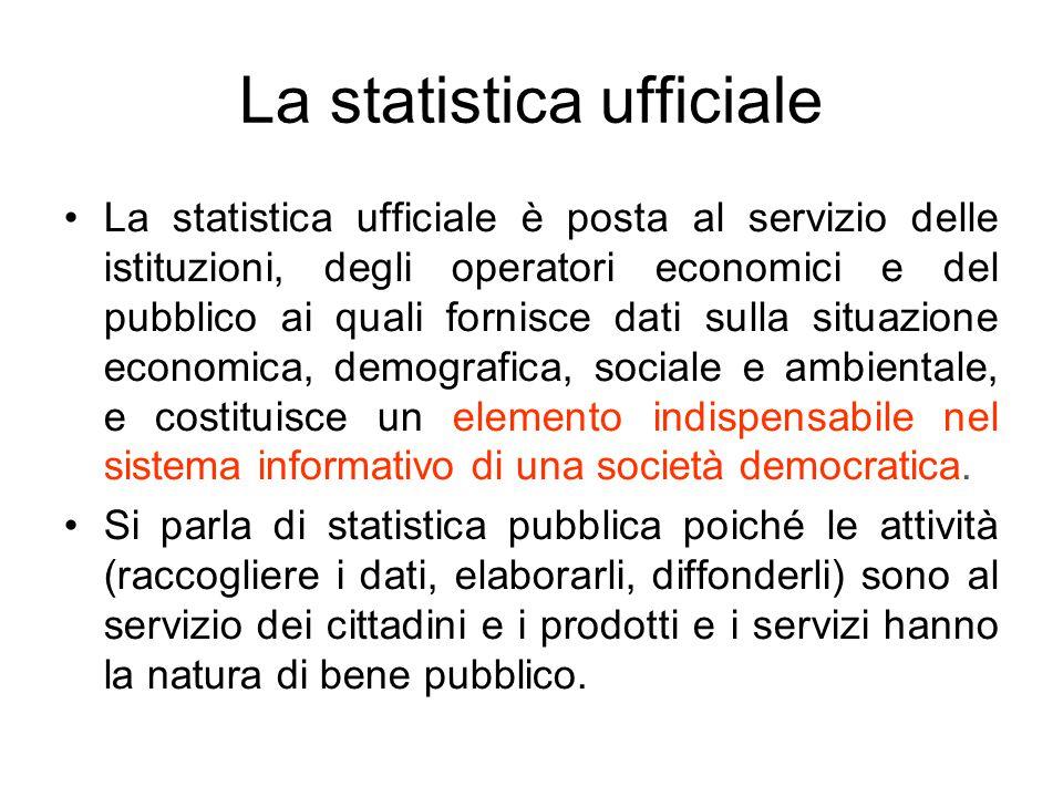 La statistica ufficiale La statistica ufficiale è posta al servizio delle istituzioni, degli operatori economici e del pubblico ai quali fornisce dati