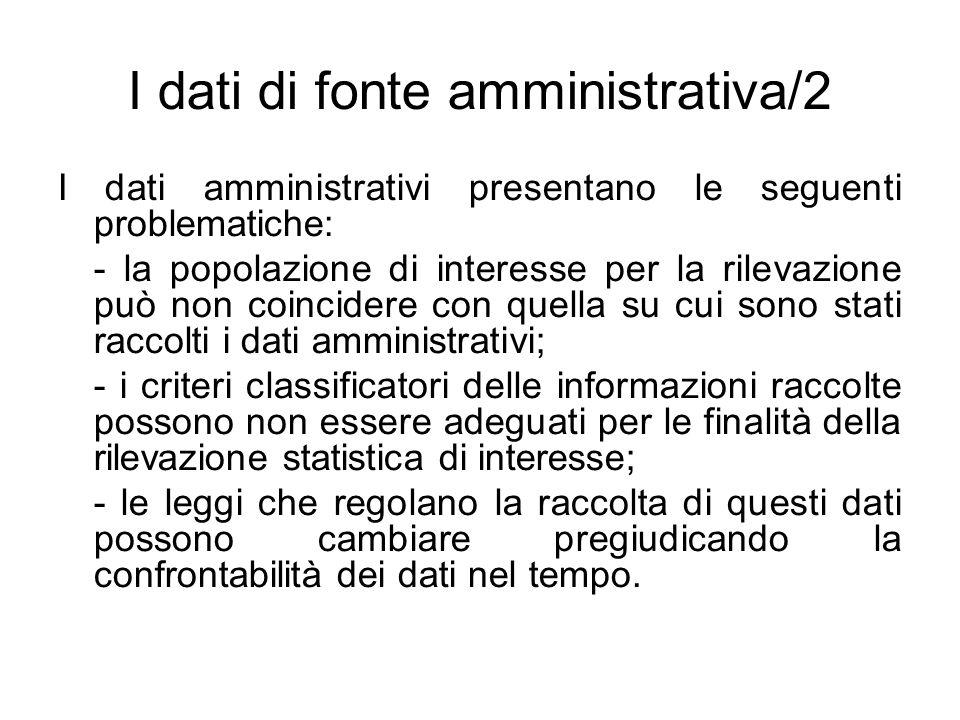I dati di fonte amministrativa/2 I dati amministrativi presentano le seguenti problematiche: - la popolazione di interesse per la rilevazione può non