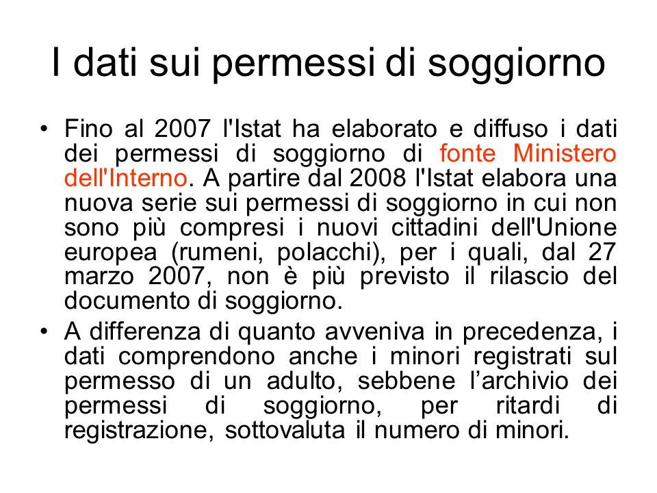 I dati sui permessi di soggiorno Fino al 2007 l'Istat ha elaborato e diffuso i dati dei permessi di soggiorno di fonte Ministero dell'Interno. A parti