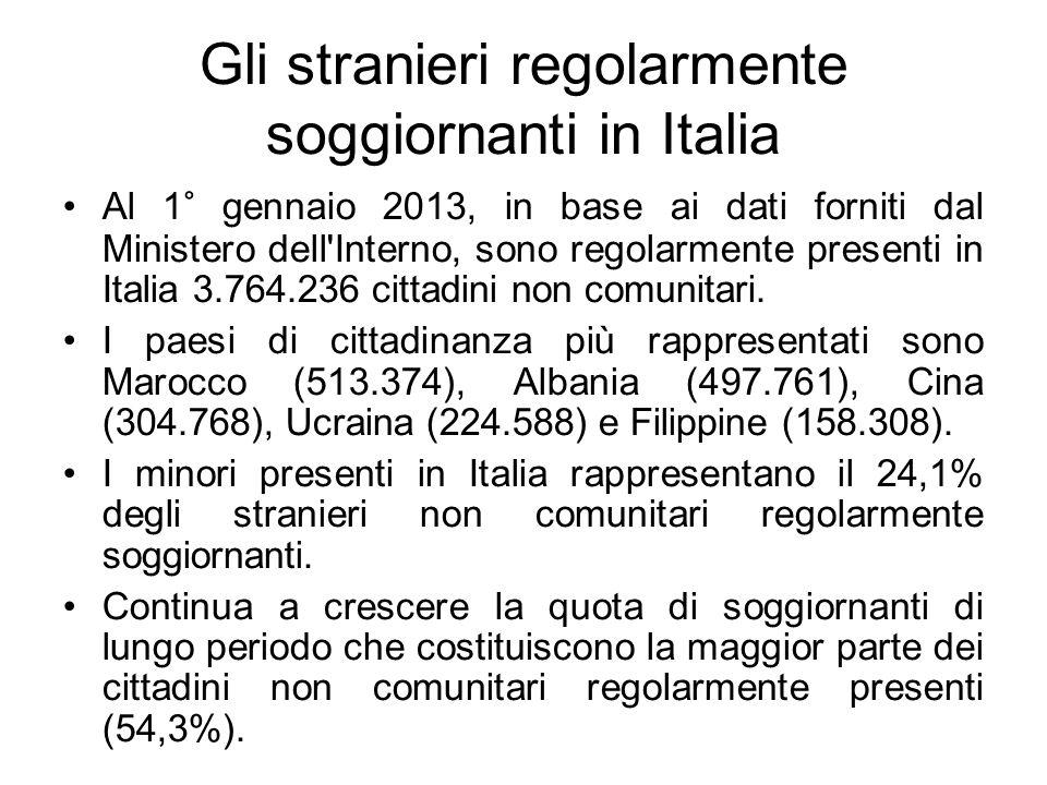 Gli stranieri regolarmente soggiornanti in Italia Al 1° gennaio 2013, in base ai dati forniti dal Ministero dell'Interno, sono regolarmente presenti i