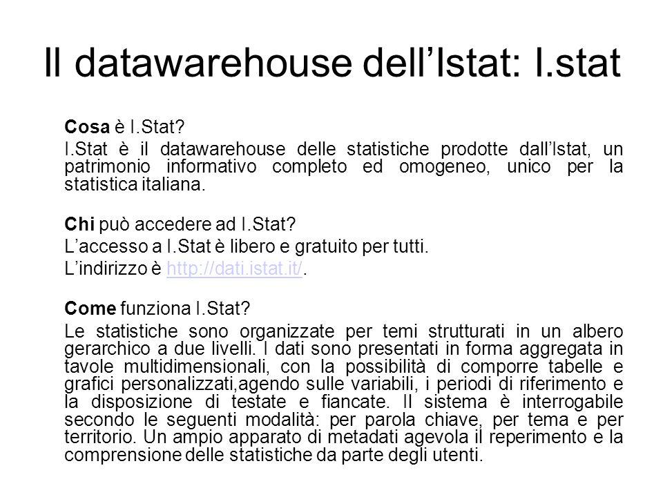 Il datawarehouse dell'Istat: I.stat Cosa è I.Stat? I.Stat è il datawarehouse delle statistiche prodotte dall'Istat, un patrimonio informativo completo
