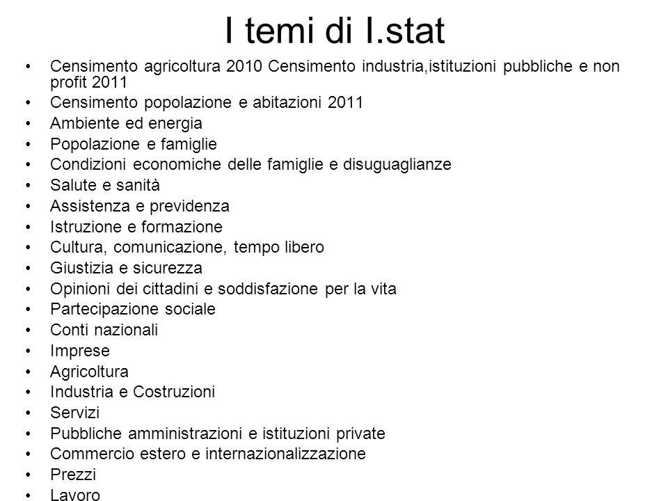 I temi di I.stat Censimento agricoltura 2010 Censimento industria,istituzioni pubbliche e non profit 2011 Censimento popolazione e abitazioni 2011 Amb