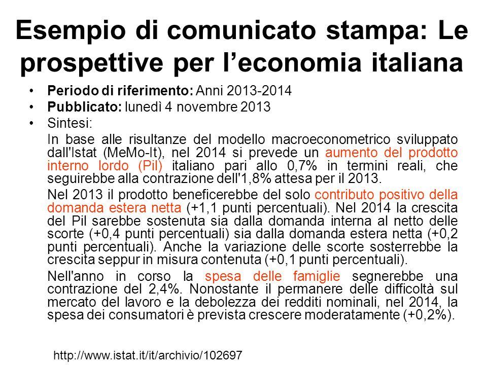 Esempio di comunicato stampa: Le prospettive per l'economia italiana Periodo di riferimento: Anni 2013-2014 Pubblicato: lunedì 4 novembre 2013 Sintesi