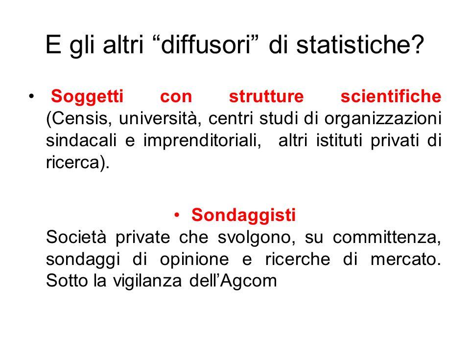"""E gli altri """"diffusori"""" di statistiche? Soggetti con strutture scientifiche (Censis, università, centri studi di organizzazioni sindacali e imprendito"""