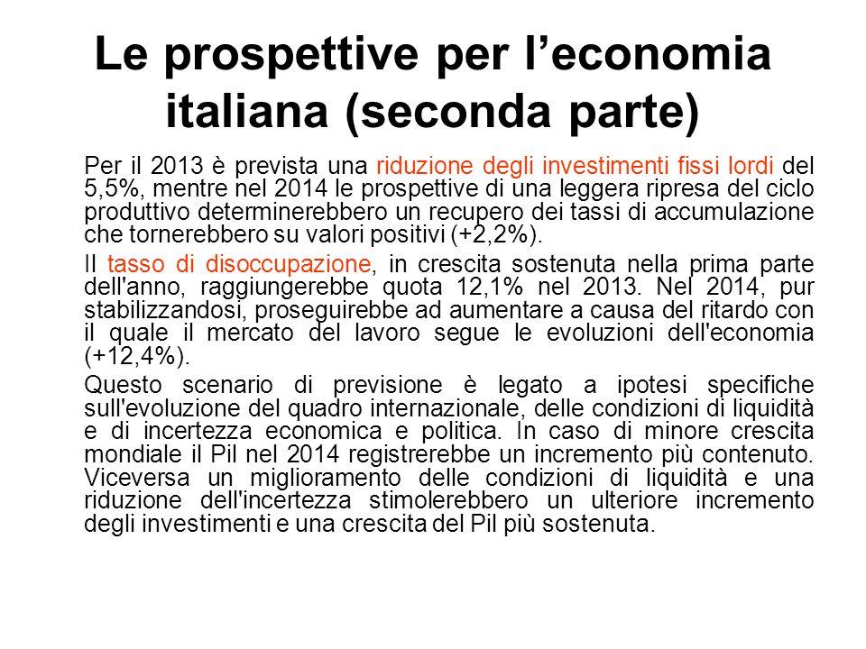 Le prospettive per l'economia italiana (seconda parte) Per il 2013 è prevista una riduzione degli investimenti fissi lordi del 5,5%, mentre nel 2014 l