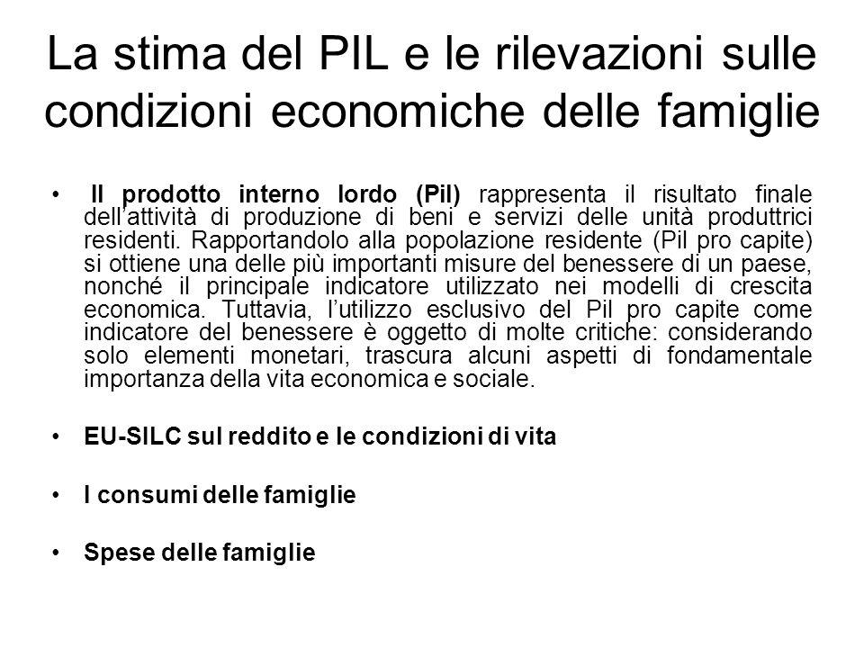 La stima del PIL e le rilevazioni sulle condizioni economiche delle famiglie Il prodotto interno lordo (Pil) rappresenta il risultato finale dell'atti