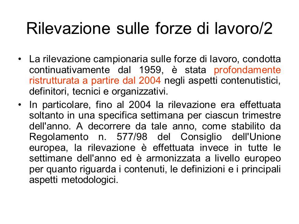 Rilevazione sulle forze di lavoro/2 La rilevazione campionaria sulle forze di lavoro, condotta continuativamente dal 1959, è stata profondamente ristr