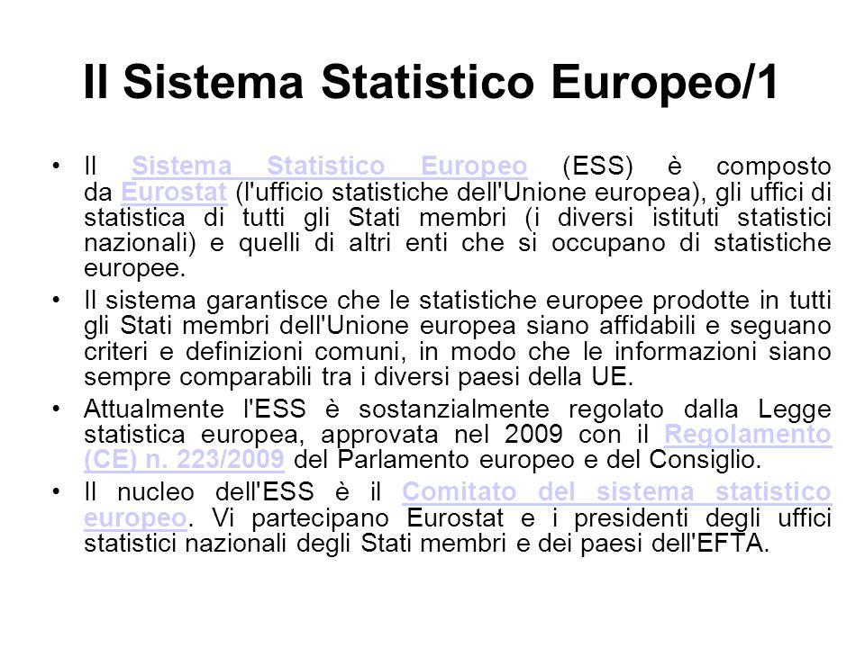 Il Sistema Statistico Europeo/1 Il Sistema Statistico Europeo (ESS) è composto da Eurostat (l'ufficio statistiche dell'Unione europea), gli uffici di
