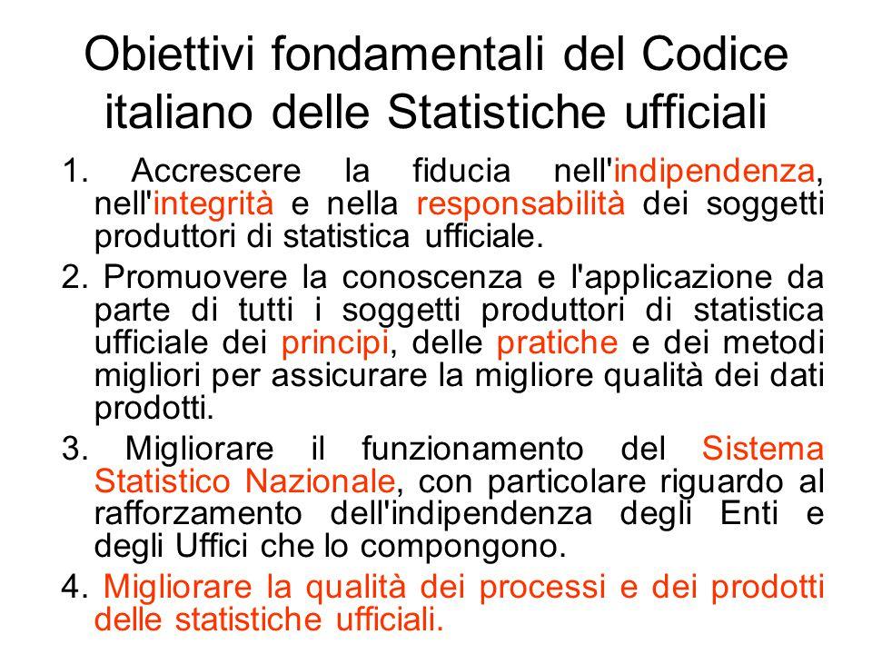 Obiettivi fondamentali del Codice italiano delle Statistiche ufficiali 1. Accrescere la fiducia nell'indipendenza, nell'integrità e nella responsabili