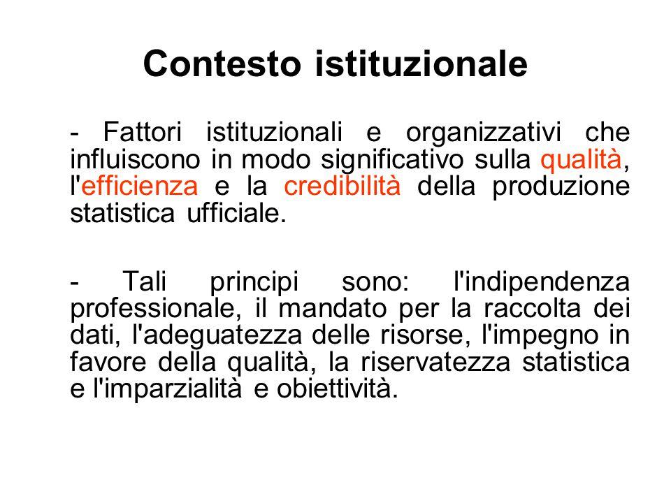 Contesto istituzionale - Fattori istituzionali e organizzativi che influiscono in modo significativo sulla qualità, l'efficienza e la credibilità dell