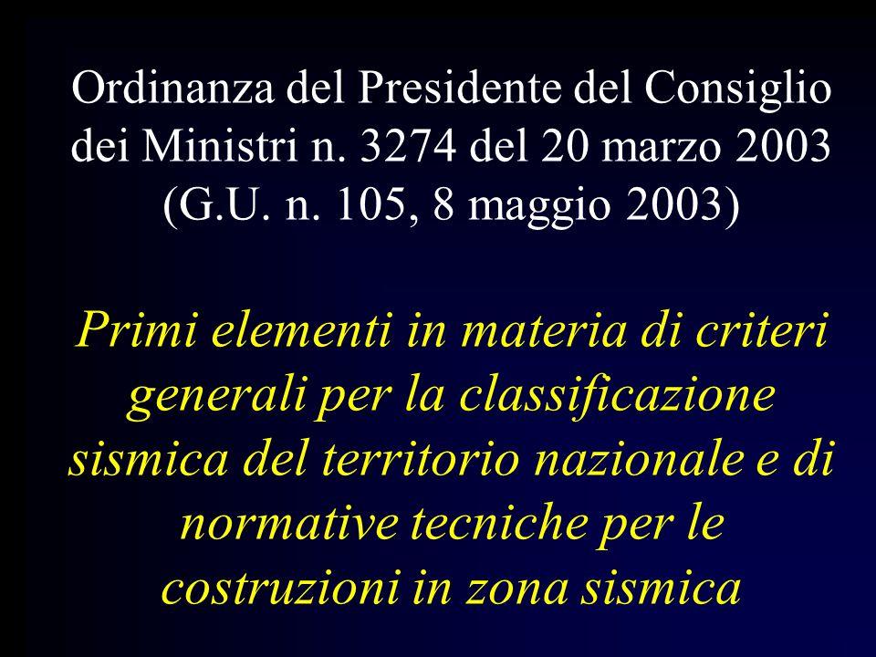 Ordinanza del Presidente del Consiglio dei Ministri n. 3274 del 20 marzo 2003 (G.U. n. 105, 8 maggio 2003) Primi elementi in materia di criteri genera