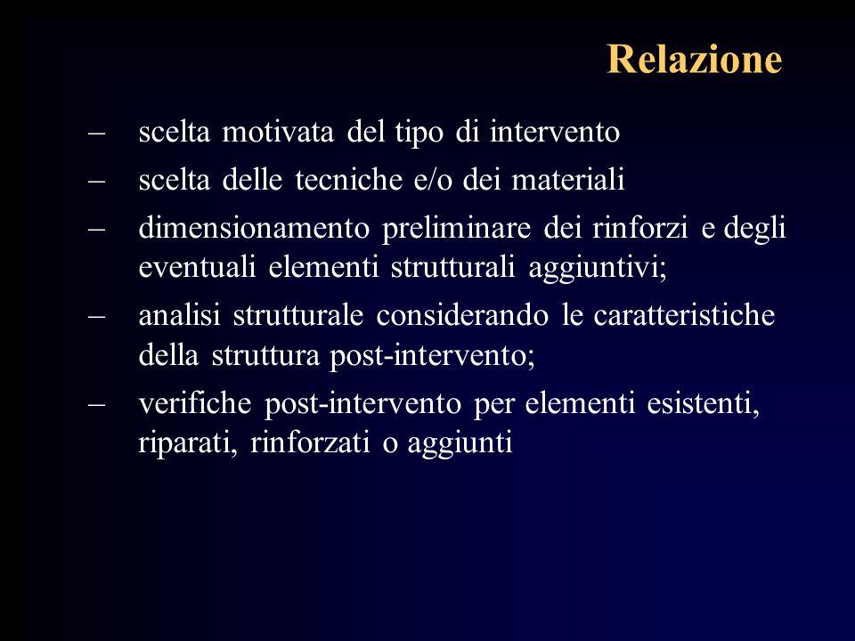 Relazione –scelta motivata del tipo di intervento –scelta delle tecniche e/o dei materiali –dimensionamento preliminare dei rinforzi e degli eventuali