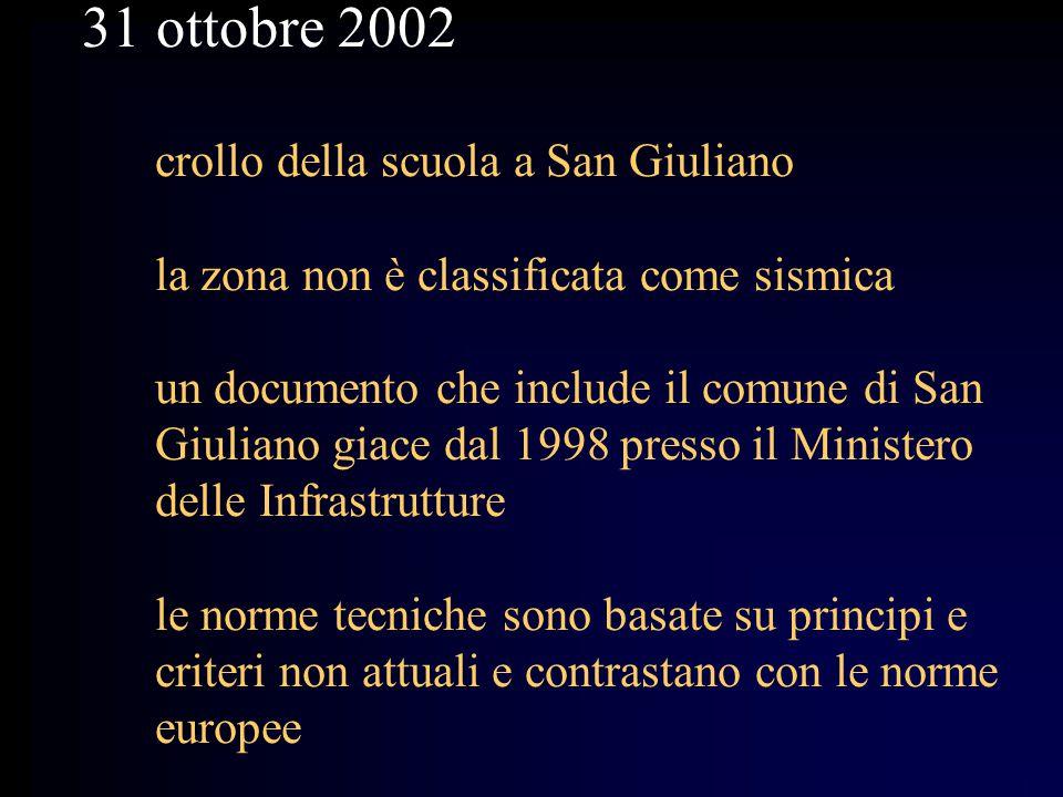 31 ottobre 2002 crollo della scuola a San Giuliano la zona non è classificata come sismica un documento che include il comune di San Giuliano giace da