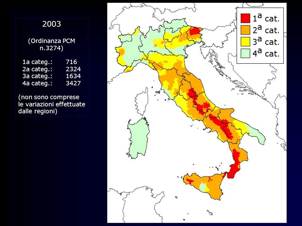 2003 (Ordinanza PCM n.3274) 1a categ.:716 2a categ.:2324 3a categ.:1634 4a categ.:3427 (non sono comprese le variazioni effettuate dalle regioni)