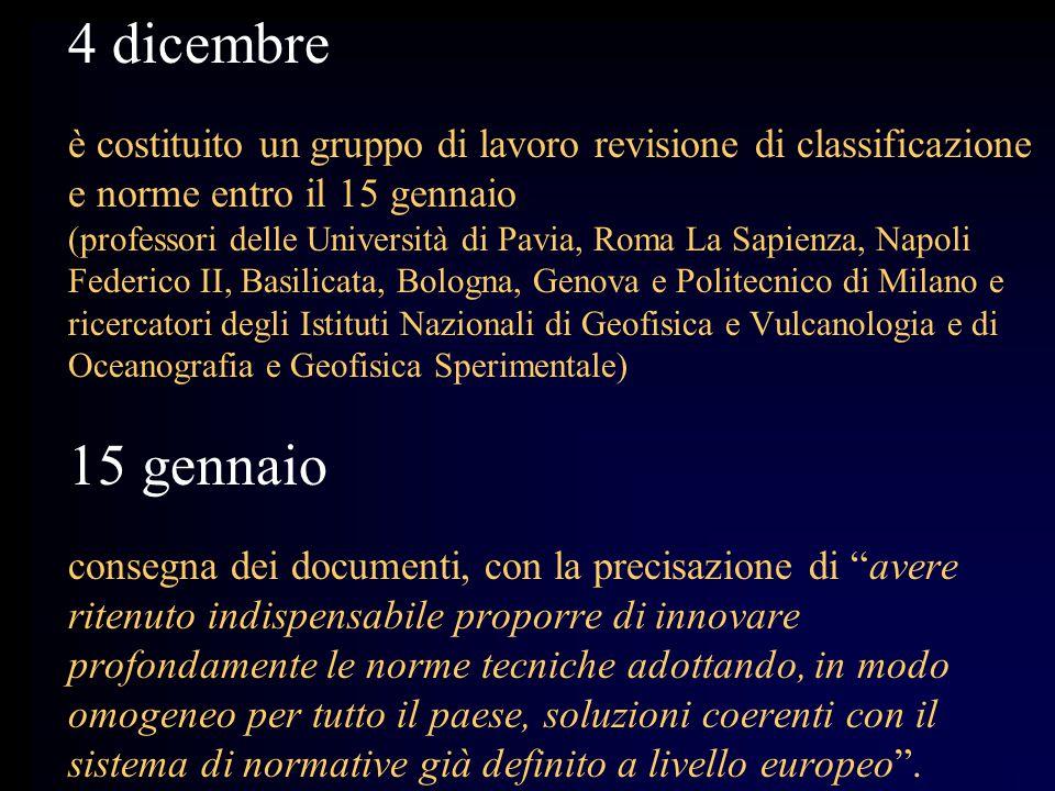 4 dicembre è costituito un gruppo di lavoro revisione di classificazione e norme entro il 15 gennaio (professori delle Università di Pavia, Roma La Sa