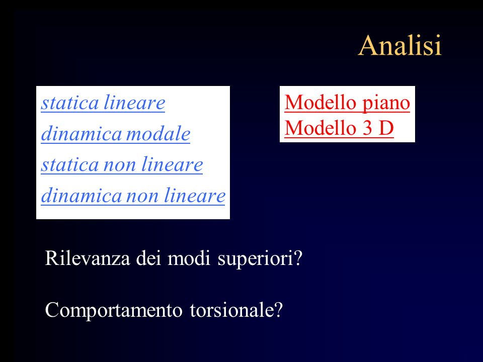 Analisi statica lineare dinamica modale statica non lineare dinamica non lineare Rilevanza dei modi superiori? Comportamento torsionale? Modello piano