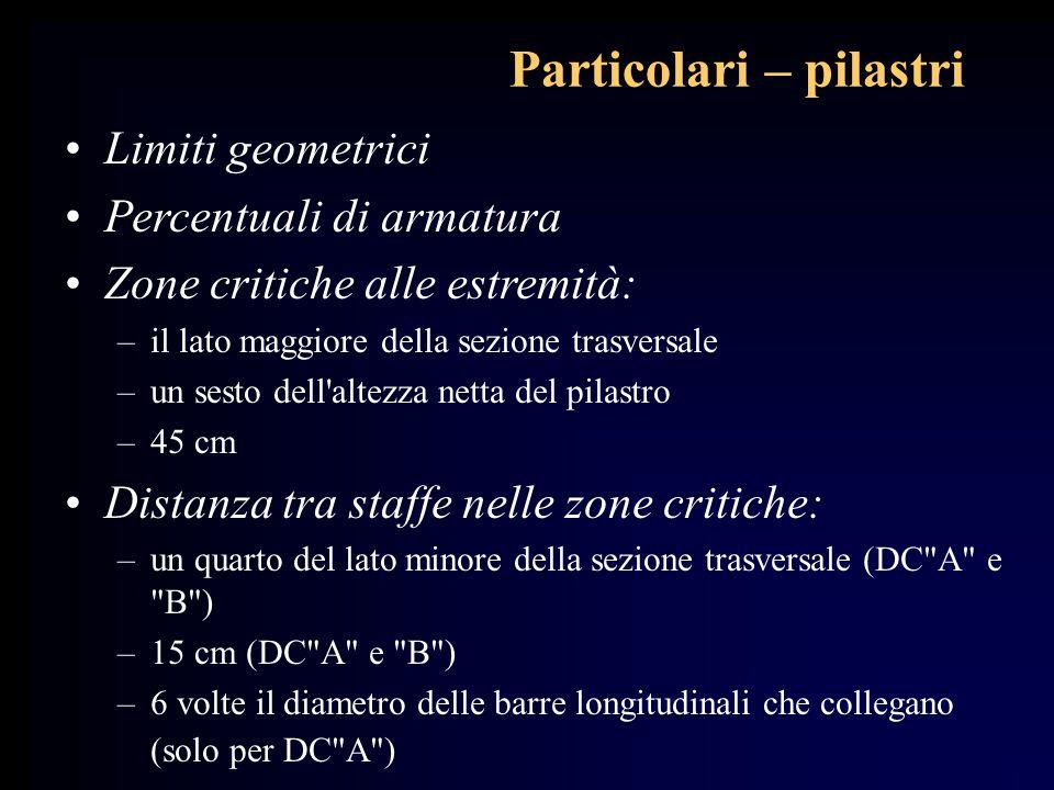 Particolari – pilastri Limiti geometrici Percentuali di armatura Zone critiche alle estremità: –il lato maggiore della sezione trasversale –un sesto d