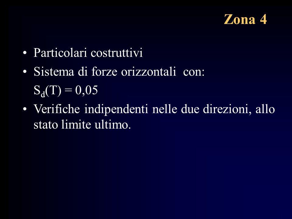 Zona 4 Particolari costruttivi Sistema di forze orizzontali con: S d (T) = 0,05 Verifiche indipendenti nelle due direzioni, allo stato limite ultimo.