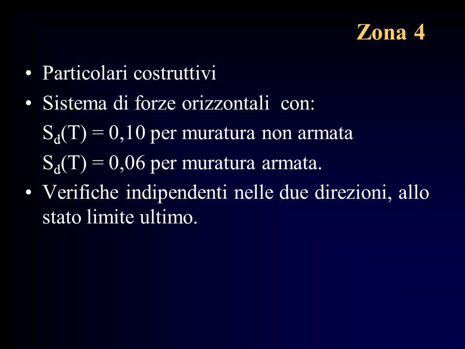 Zona 4 Particolari costruttivi Sistema di forze orizzontali con: S d (T) = 0,10 per muratura non armata S d (T) = 0,06 per muratura armata. Verifiche