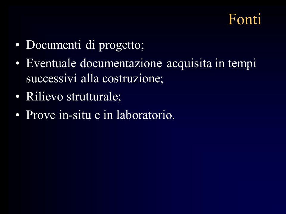 Fonti Documenti di progetto; Eventuale documentazione acquisita in tempi successivi alla costruzione; Rilievo strutturale; Prove in-situ e in laborato