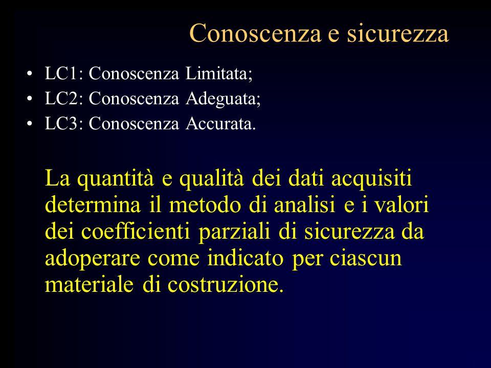 Conoscenza e sicurezza LC1: Conoscenza Limitata; LC2: Conoscenza Adeguata; LC3: Conoscenza Accurata. La quantità e qualità dei dati acquisiti determin