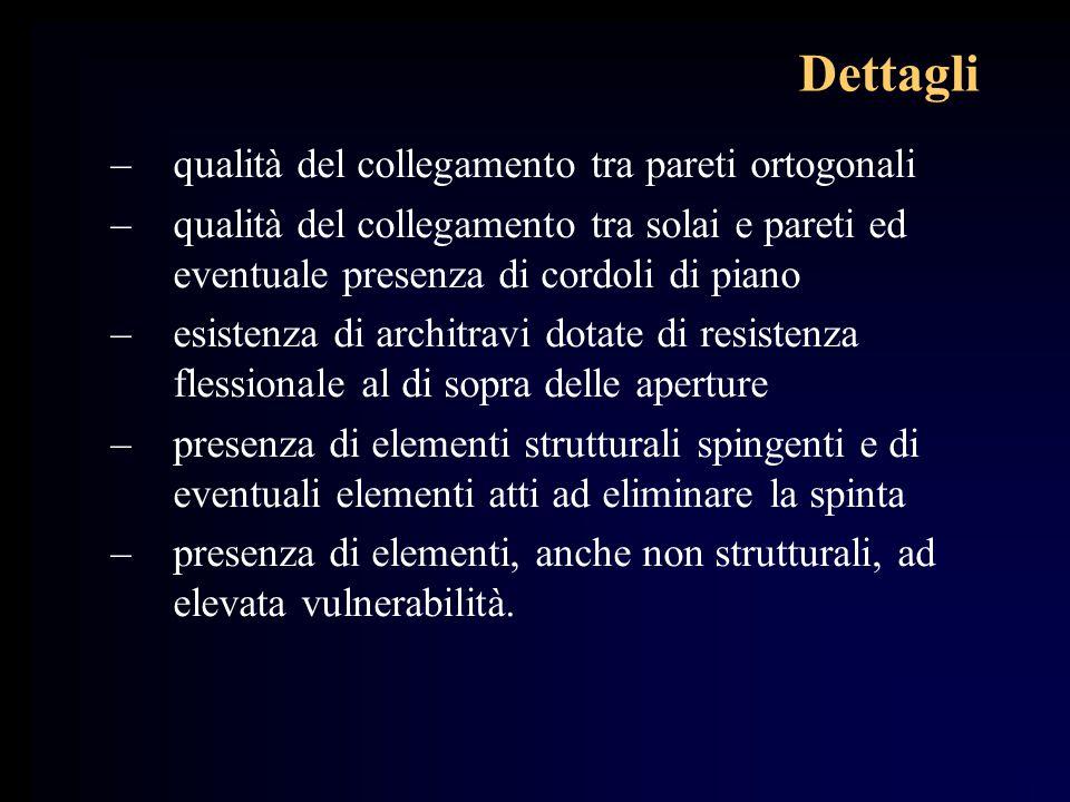 Dettagli –qualità del collegamento tra pareti ortogonali –qualità del collegamento tra solai e pareti ed eventuale presenza di cordoli di piano –esist