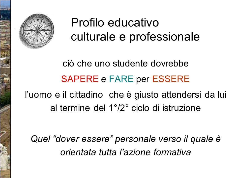 Profilo educativo culturale e professionale ciò che uno studente dovrebbe SAPERE e FARE per ESSERE l'uomo e il cittadino che è giusto attendersi da lu